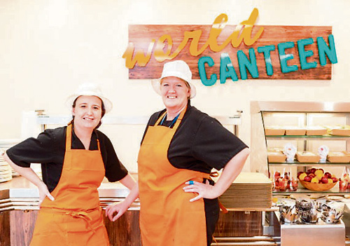 Fairfield High School canteen manager Debs (on the right) with deputy manager Emma