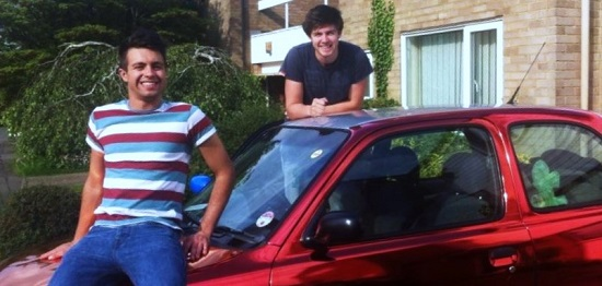 Ed Cooper and Ben Crowther with their 1998 Nissan Micra