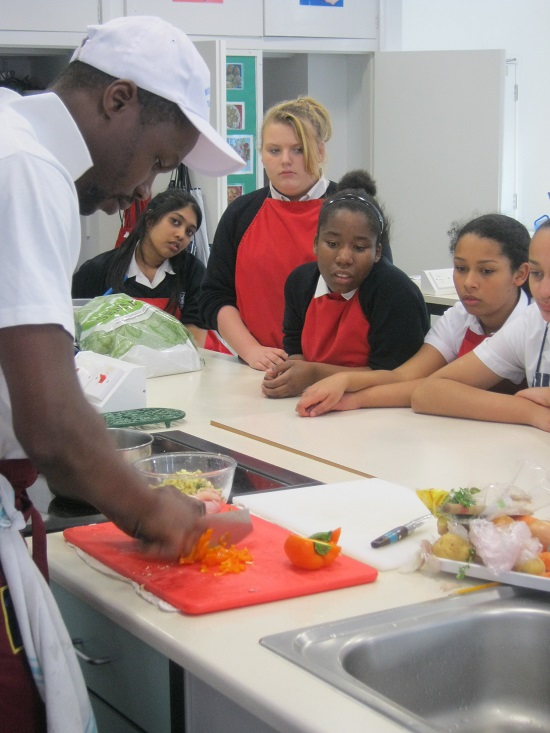 CGS receiving cookery lesson
