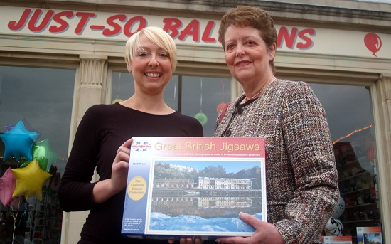 Amy Taylor, co-director of Just-So Balloons with Helen Davies, from For Effect, with one of the Great British Jigsaws