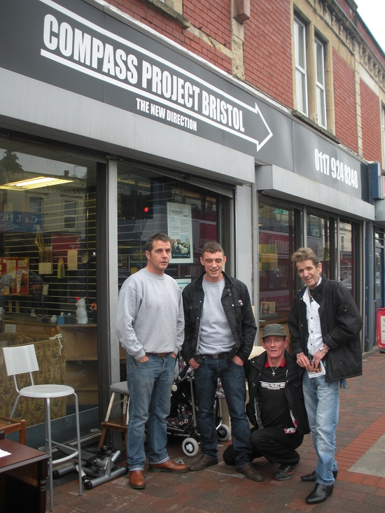 Kevin Neal, Paul, Billy and Del outside the Compass Project