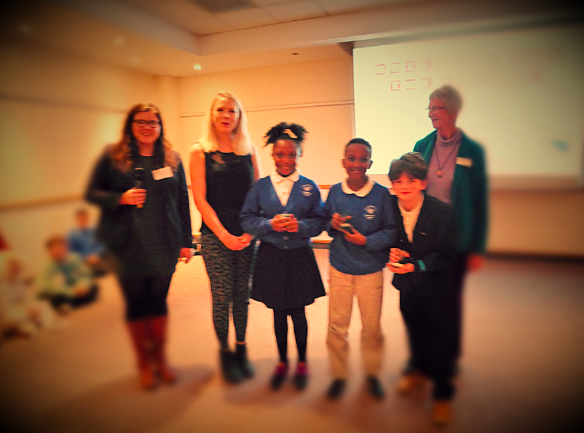 Unique Voice co-founder Claire Farnham with Bishopston Voice editor Rebecca Day, Cassandra Mckenzie, Akram Jama and Bryn Coates Cook from St Barnabas Primary School, and Susannah Temple from Fluent Self
