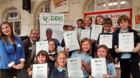 Vashti Seth and Stephen Williams MP with the children who came first, second and third in the Deki Tenner Tournament.