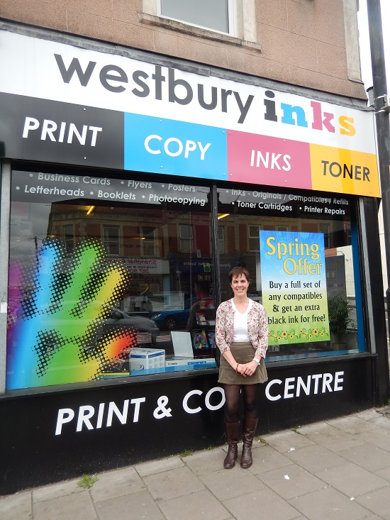 Sarah Defrates outside Westbury Inks