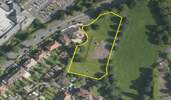 Birds eye view of Horfield Common where new play area is to be built