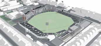 CGI of cricket ground with proposed floodlights