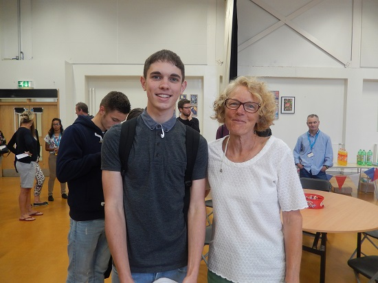 Jake Winter with headteacher Helen Holman
